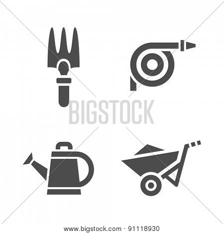 Gardening tools. Vector icons of garden tools