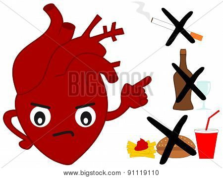 human heart versus bad habits funny cartoon illustration