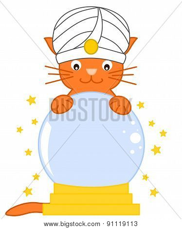 Cat predict future with magic crystal ball cartoon illustration