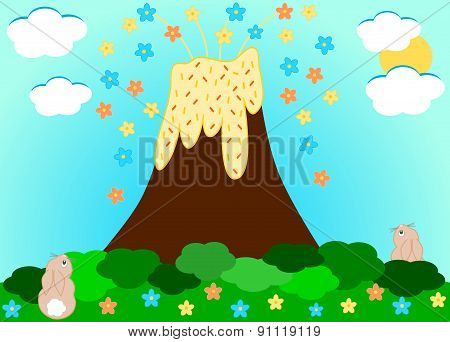 Volcano erupting flowers funny cartoon illustration