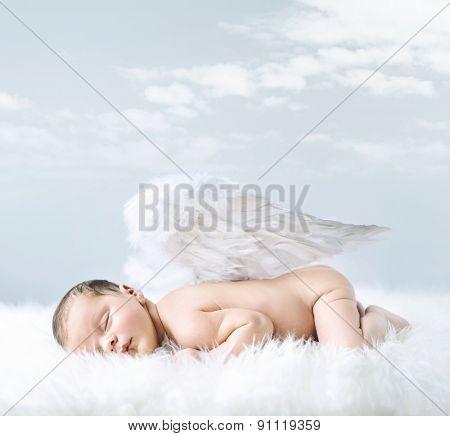 Fantasy portrait of a cute little newborn baby