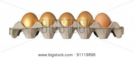 Four Golden And One Chicken Eggs