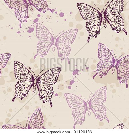 Seamless Pattern With Violet Butterflies
