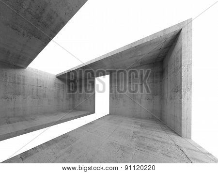 Concrete Room Interior With White Opening 3D