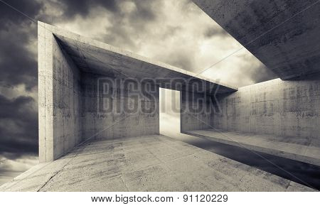 Concrete Interior With Dark Moody Sky, 3D