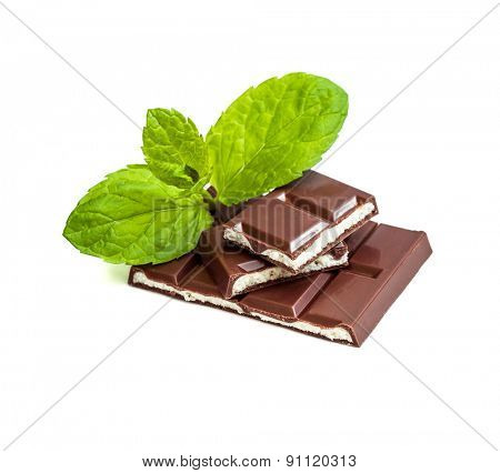 milk chocolate with mint filling isolated on a white background