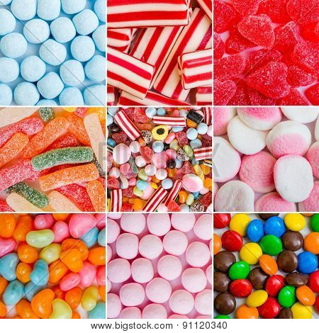 photo collage of colorful candies and jellies