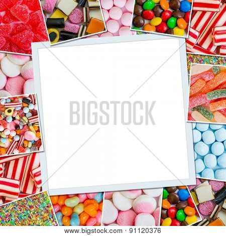 Frame photos of candies and jellies