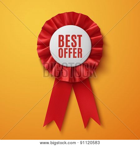 Best offer, realistic red fabric award ribbon.