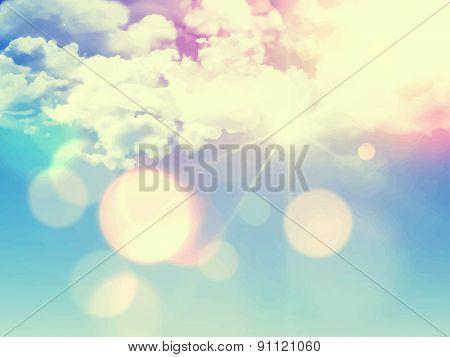 Retro vector image of a sunny sky