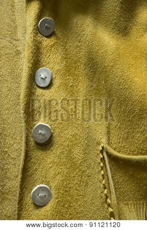 Buckskin Leather Cowboy Coat with Unique Buttons