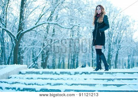 Beautiful Girl In Winter Clothes