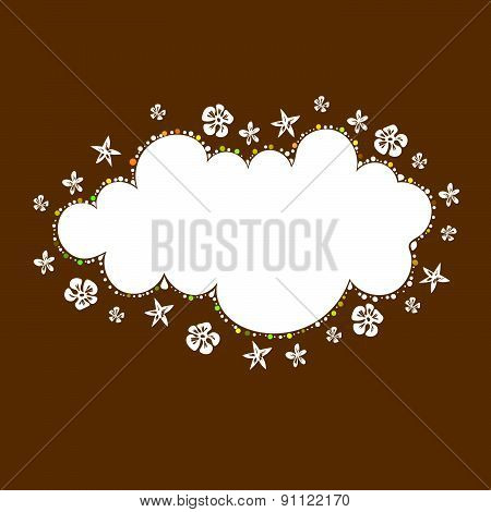 white cloud background with floral style