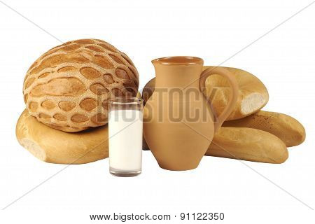 Bakery Products And Clay Jug