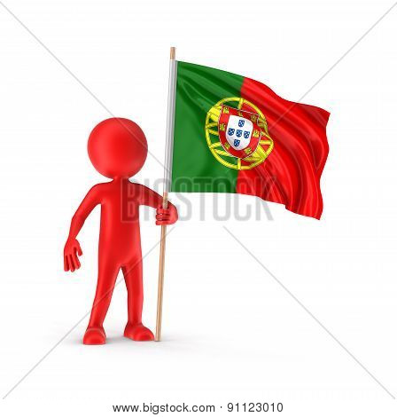 Man and Portuguese flag (clipping path included)