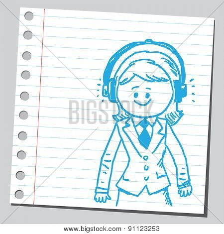 Businesswoman with earphones