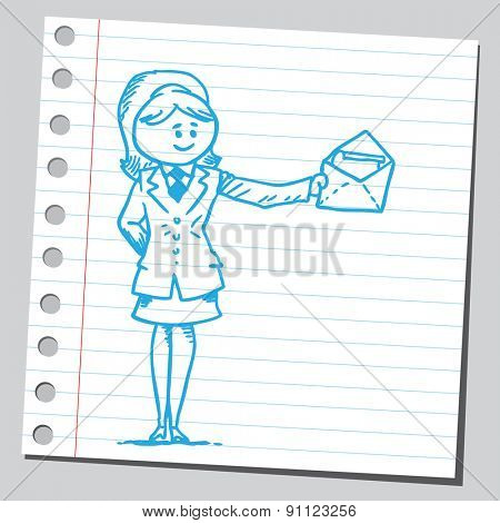 Businesswoman holding open envelope