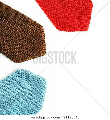 Colorful male ties isolated on white