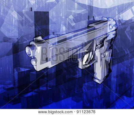 Gun crime Abstract concept digital illustration