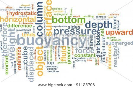 Background concept wordcloud illustration of buoyancy