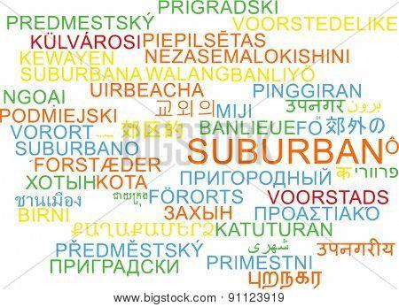 Background concept wordcloud multilanguage international many language illustration of suburban