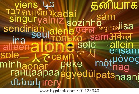 Background concept wordcloud multilanguage international many language illustration of alone glowing light