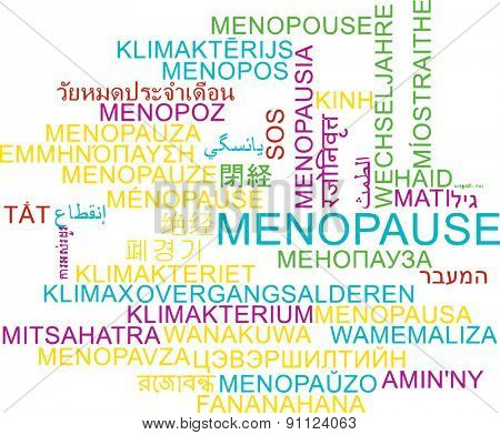 Background concept wordcloud multilanguage international many language illustration of menopause