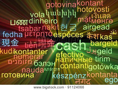 Background concept wordcloud multilanguage international many language illustration of cash glowing light