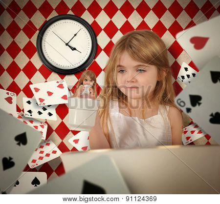 Fairytale Teacup Girl With Floating Playing Cards