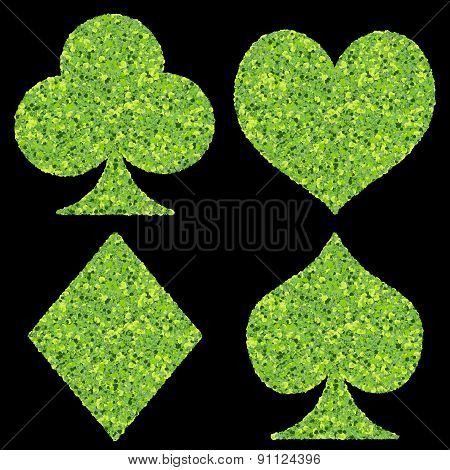 Playing card eco icon, made from green leaves.