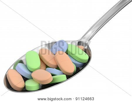 Spoon and Pills (clipping path included)