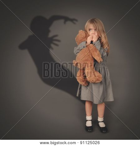 Scary Dark Silhouette Ghost Behind Little Child