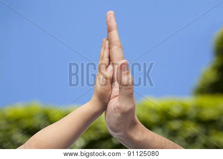 Father And Son In High Five Gesture On A Blurred Natural Blue And Green Background