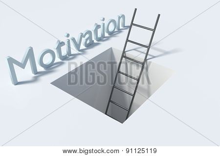 Ladder In Square Hole Over White Surface Motivation Illustration