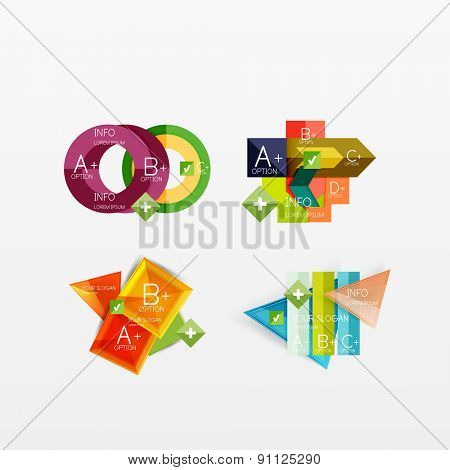 Set of modern geometric infographic web or app layouts, color paper graphics with sample text