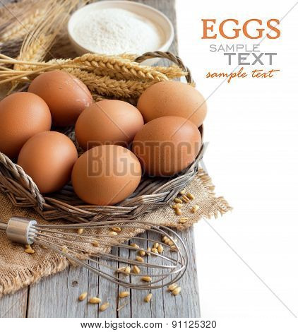 Chicken Eggs, Whisk,  Wheat And Flour
