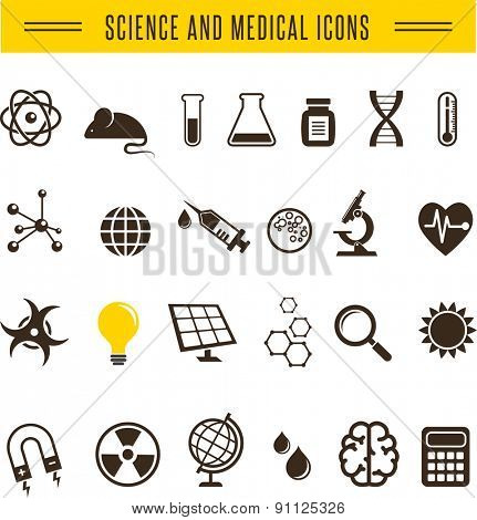 Scientist pack - Research, Bio Technology and chemistry icons, elements