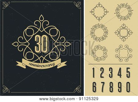 anniversary - abstract art background with icons and elements