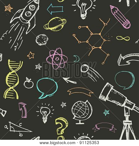Hand drawn vector doodles - education, science and learning pattern
