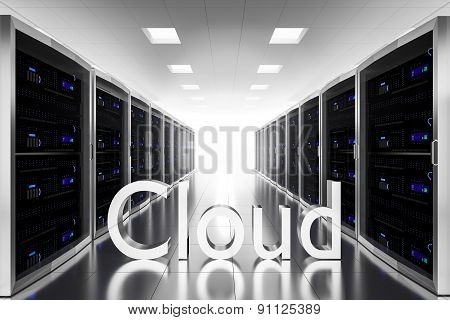 Large Server Room Datacenter Cloud Symbol Illustration