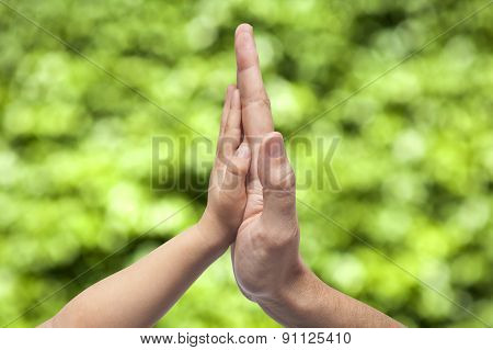 Father And Son In High Five Gesture On A Blurred Natural Green Background