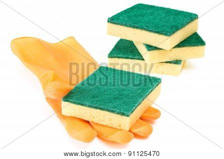 Scouring Sponges With Rubber Glove