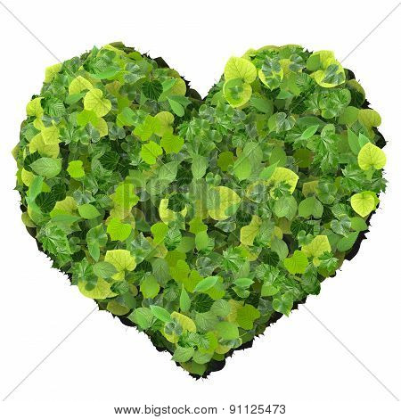 Playing card eco icon heart, made from green leaves.