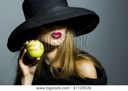 Sexy Blonde Girl With Apple