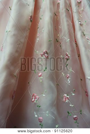 Pink Princess Dress Detail with Embroidered Flowers
