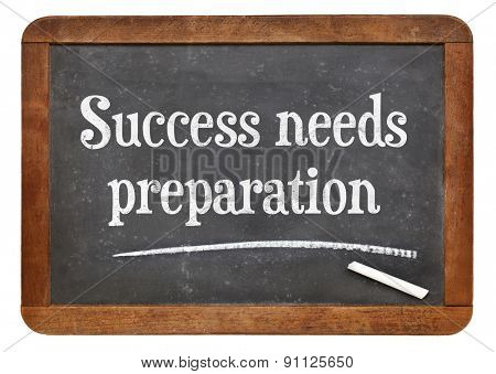 Success needs preparation - motivational text on a vintage slate blackboard
