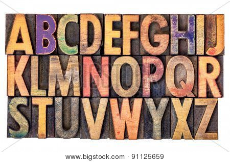 alphabet abstract in vintage letterpress wood type printing blocks, isolated on white