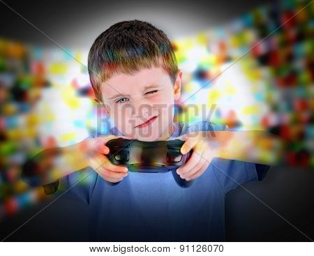 Boy Playing Video Game Controller