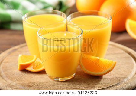 Orange juice on table close-up