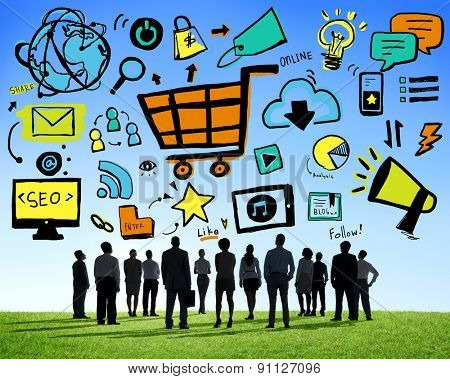 Business People Online Marketing Professional Team Aspiration Concept